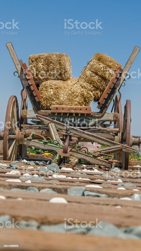 Railway Or Railroad Tracks And Wooden Cart Stock Photo