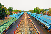 West Bengal,India-March 22,2020: Railway platform is empty for janta curfew lockdown for safety of the people during Coronavirus or Covid-19 pandemic.