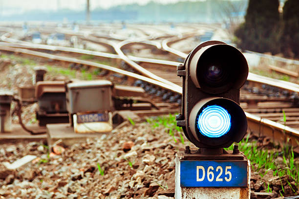 railway point signal lamp - railway signal stock photos and pictures