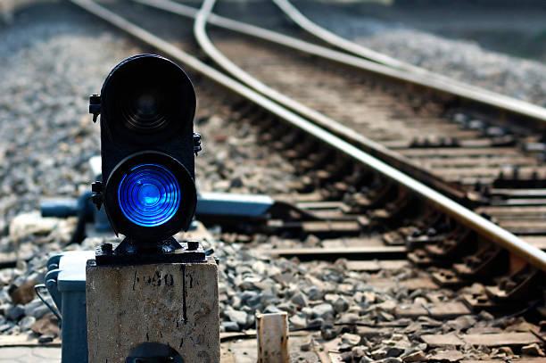 Railway point signal lamp stock photo