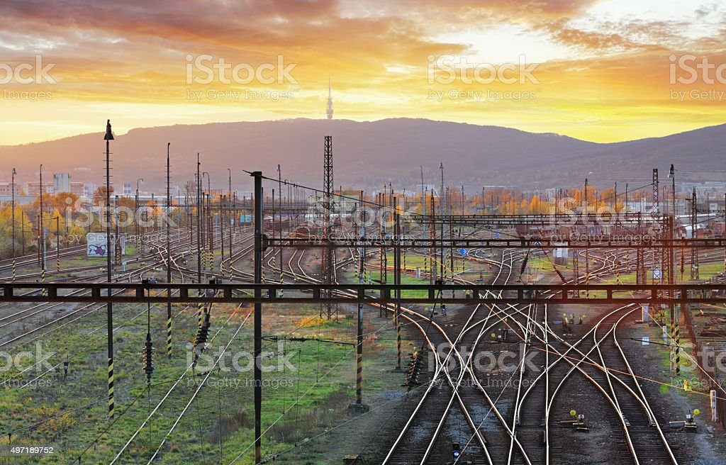 Railway, railroad lines at sunset stock photo