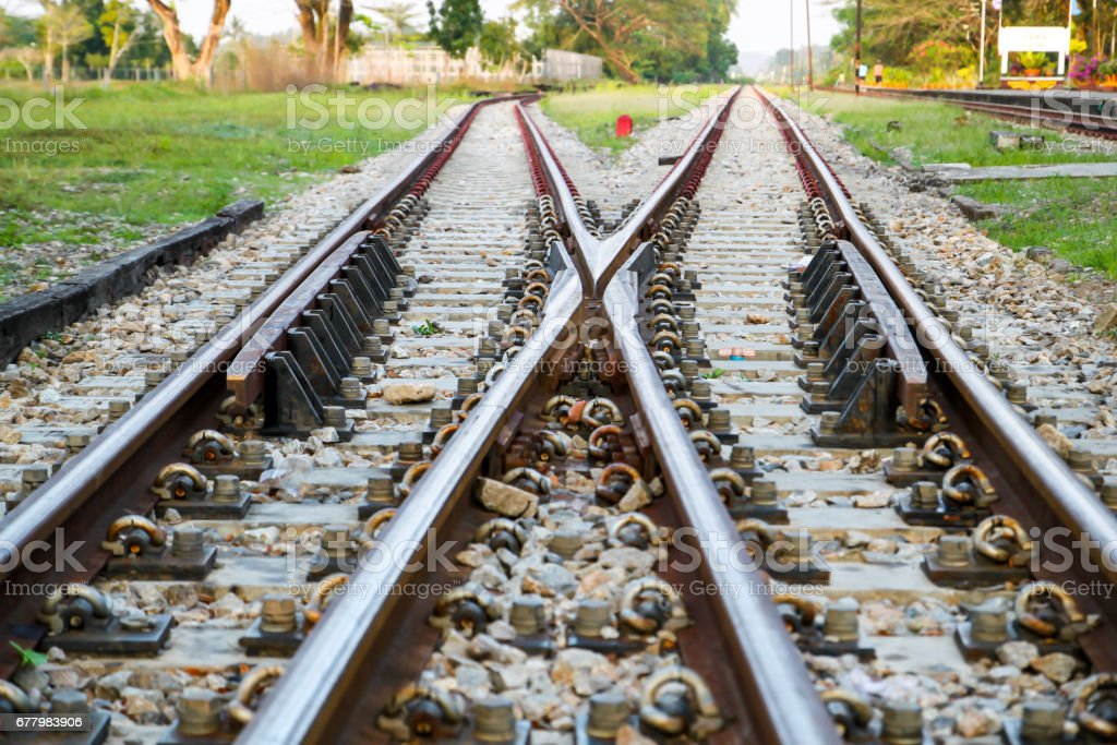 Railway railroad tracks for train public transport. stock photo