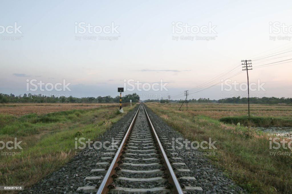 railway rails of stretching into the distance. stock photo