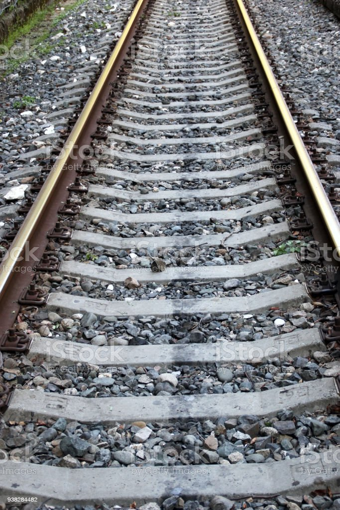 Railway rails stock photo