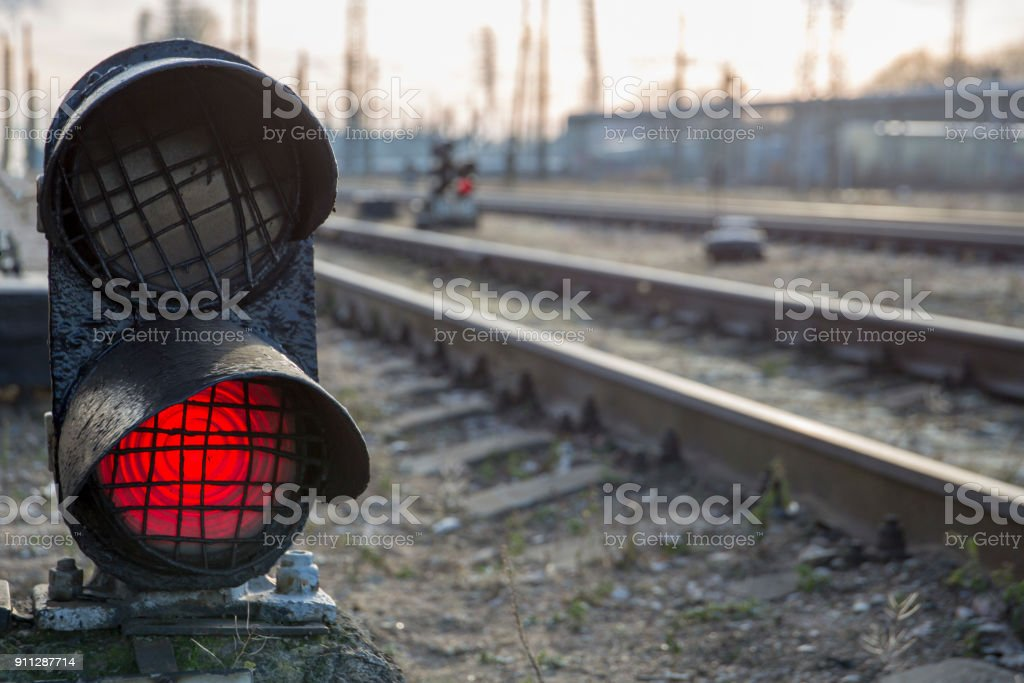 Railway red traffic light stop signal royalty-free stock photo