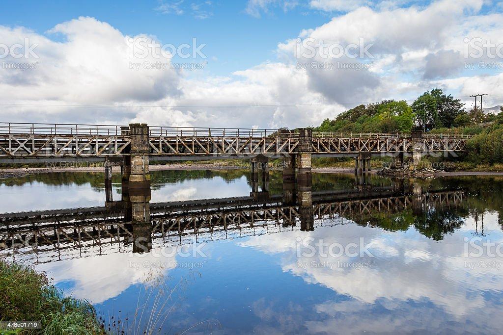 Railway river bridge in Fort William, Scotland stock photo