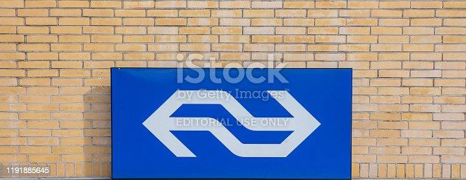 istock NS railway sign, Eindhoven railway station, Netherlands 1191885645