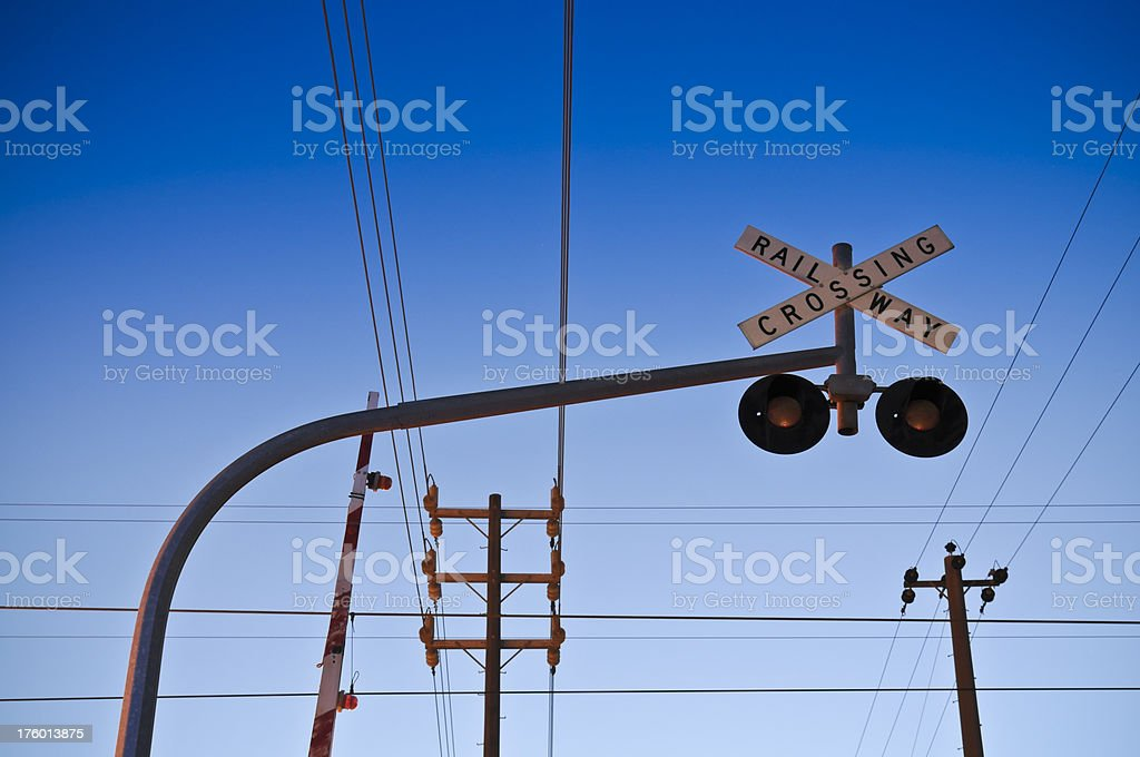 Railway Signals and Power Lines stock photo