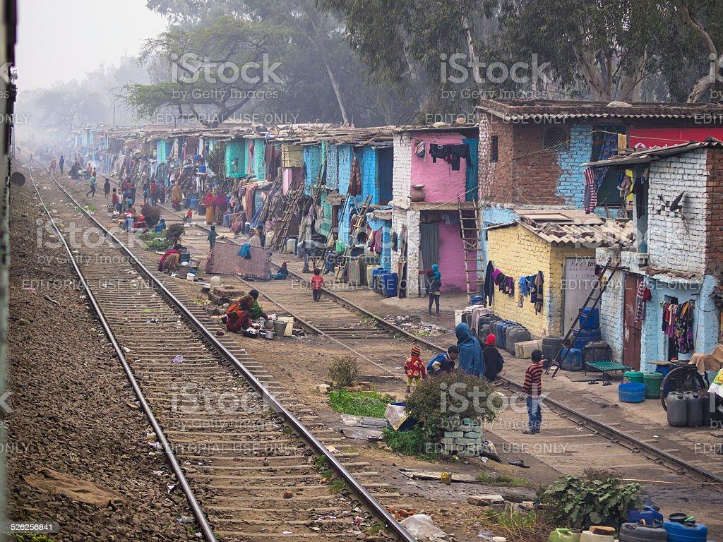 Railway slum stock photo