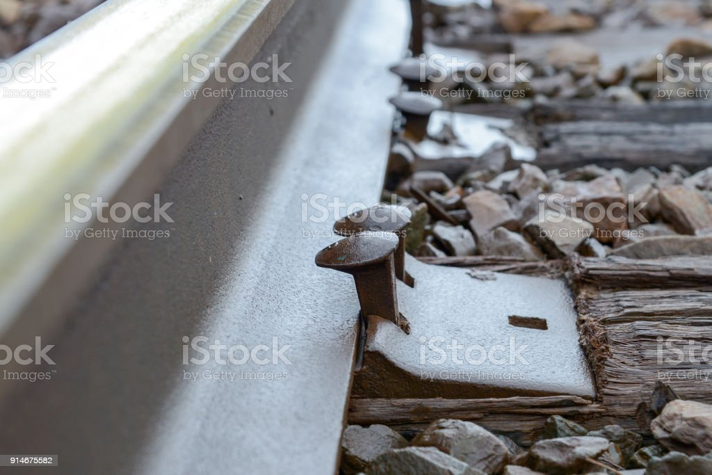 Railway Spikes Lifting Up stock photo