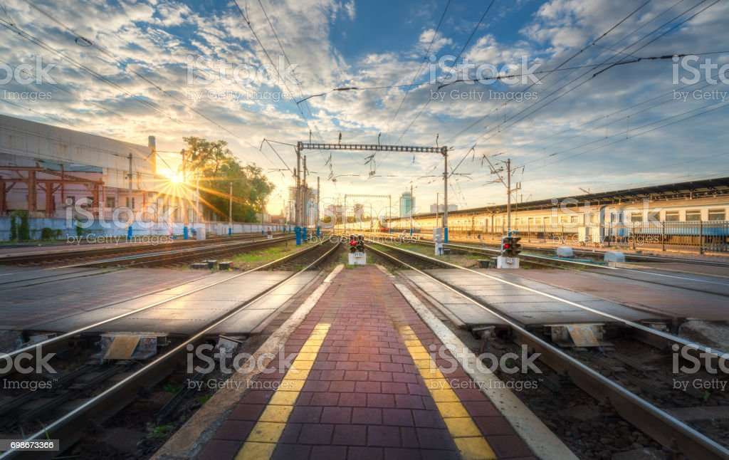 Railway station at sunset in summer in Europe stock photo