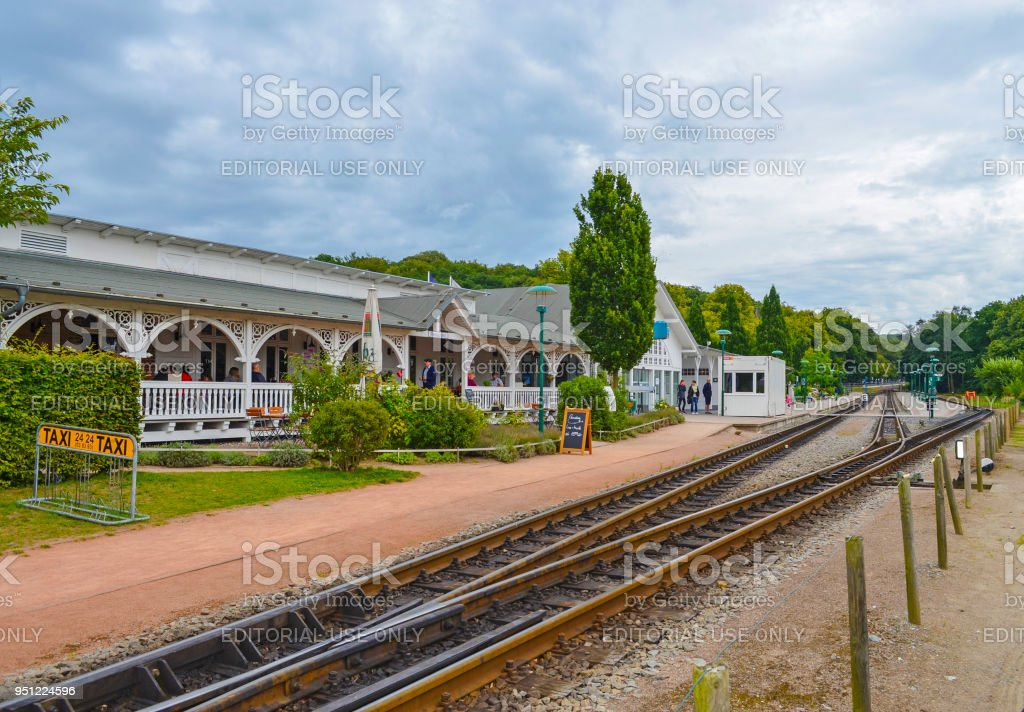 Railway station Binz on the island Ruegen, Germany. The historical railway train 'Rasender Roland' (german for Raging Roland) with its authentic steam locomotive stops at this station. stock photo