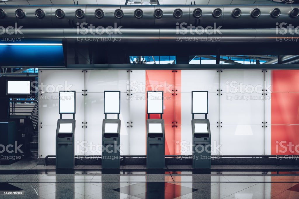 Railway station depot with computers templates for registration stock photo
