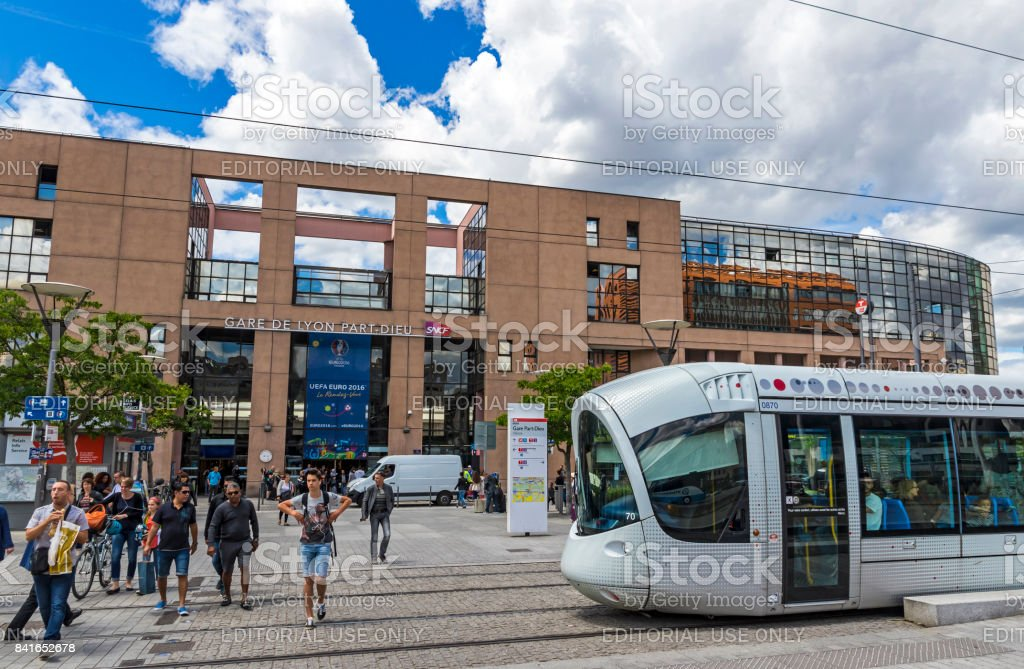 Railway Station in Lyon, France (Gare de Lyon-Part-Dieu) stock photo