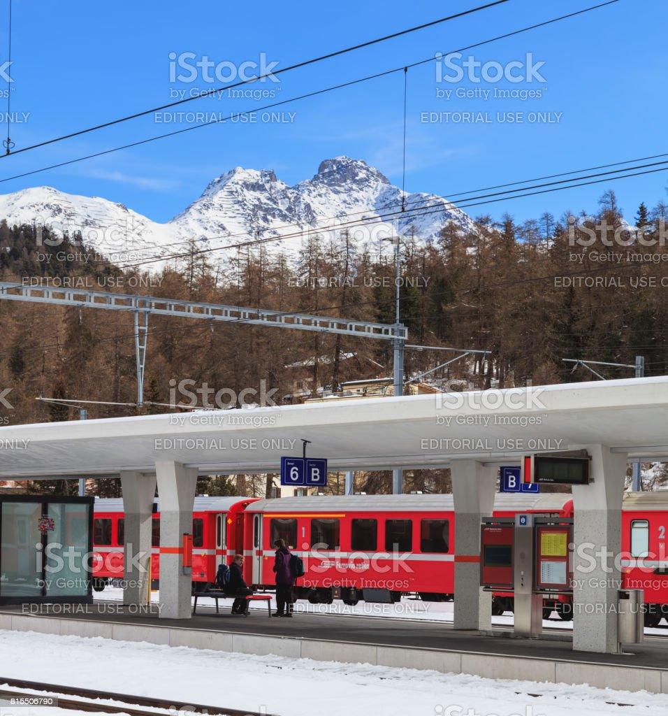 Railway station in St. Moritz, Switzerland stock photo
