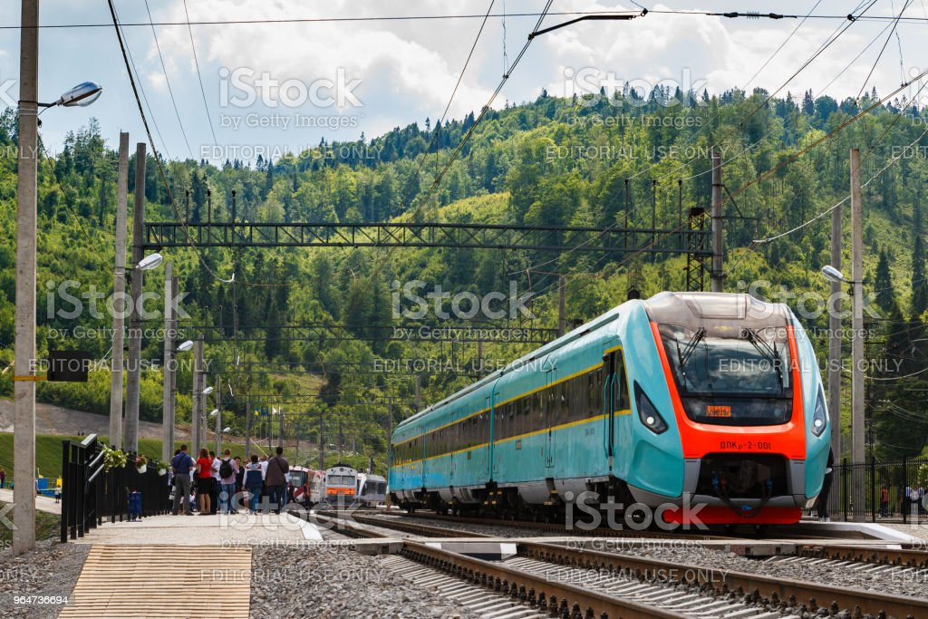 Railway station in the Carpathians, Ukraine royalty-free stock photo