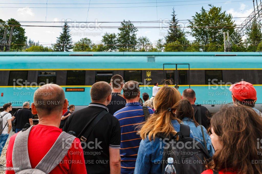 Railway station in the Carpathians, Ukraine royalty-free stock photo