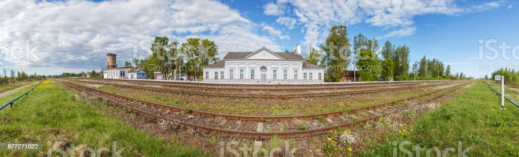 Railway station in the village, panoramic view stock photo