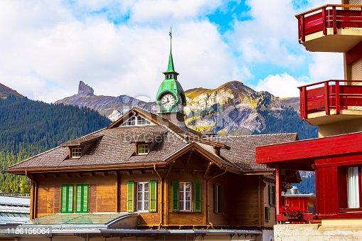 istock Railway station in Wengen, Switzerland 1186156064