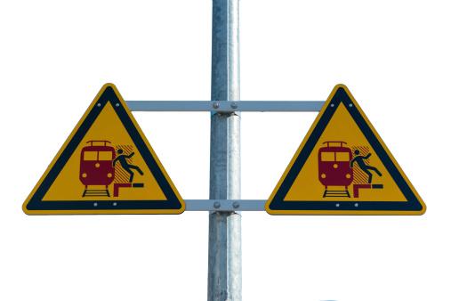 istock Railway station warning sign 453416139