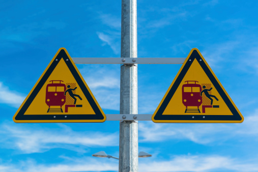 istock Railway station warning sign 453457703