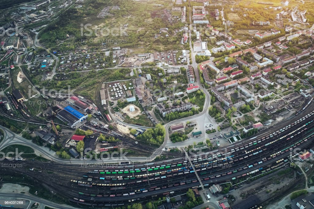 Railway Station with lots of Lines and Freight Trains - Royalty-free Aerial View Stock Photo