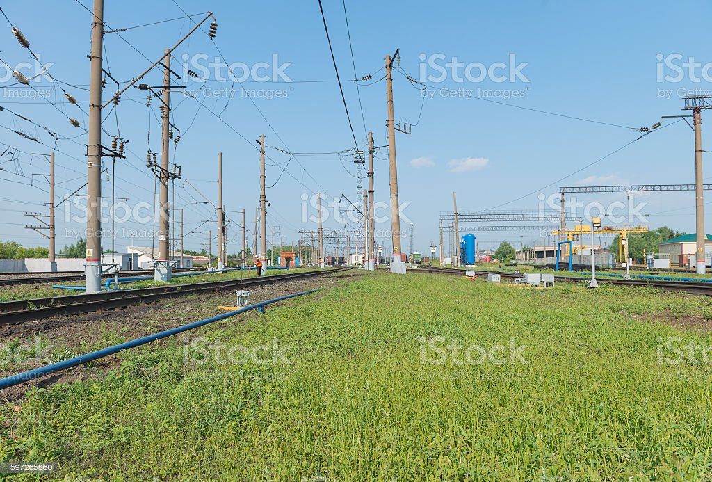 railway station with roads and infrastructure royalty-free stock photo
