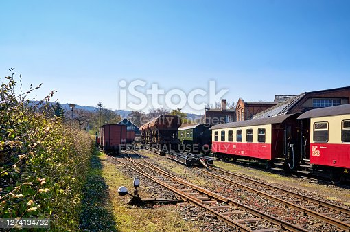 istock Railway station with the narrow-gauge railway network and railway wagons. Brockenbahn in the Harz Mountains. 1274134732
