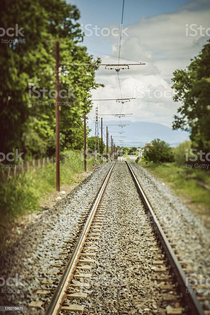 Railway straight ahead royalty-free stock photo