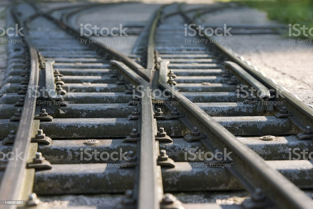 Railway switches and sun spots, close-up stock photo