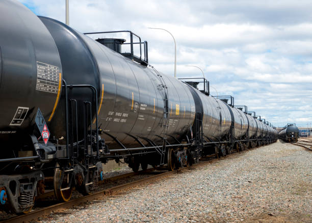 railway tanker cars - rail stock photos and pictures
