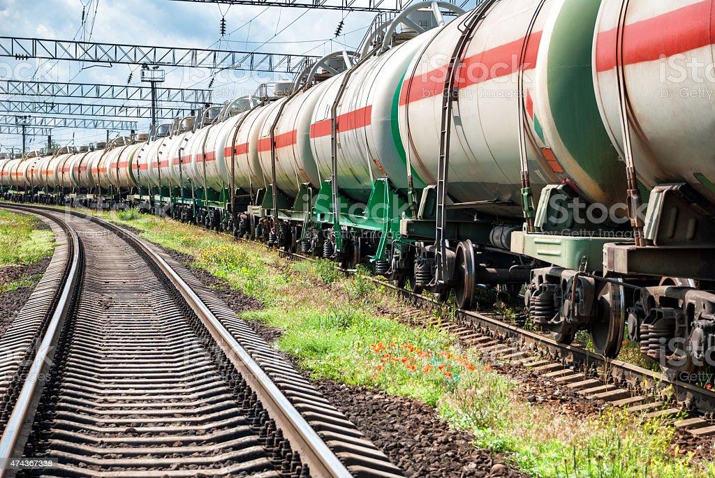 Railway tanks with oil stock photo
