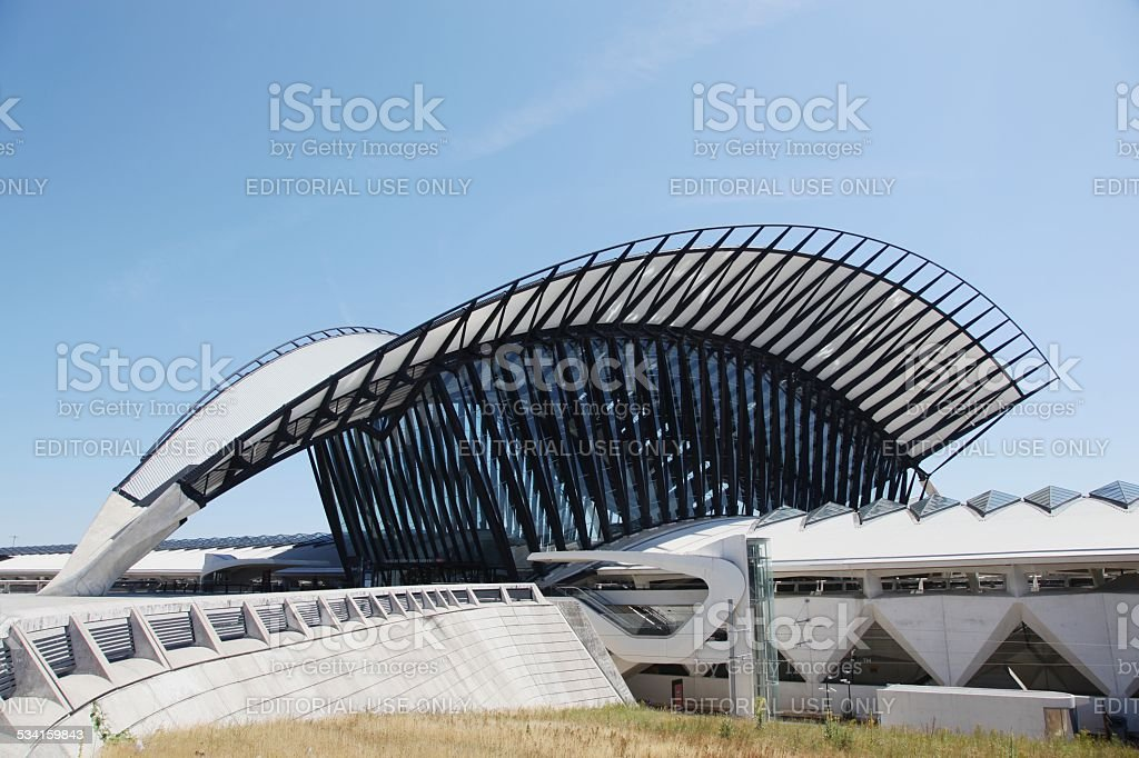 Railway TGV station connected to Saint Exupery airport in Lyon stock photo
