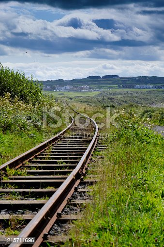 A railway that gets lost in the Irish countryside, giving a sense of infinity