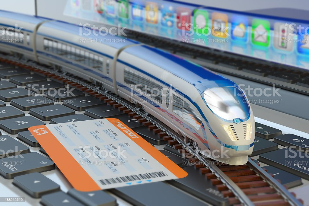 Railway ticket booking via internet or mobile application stock photo