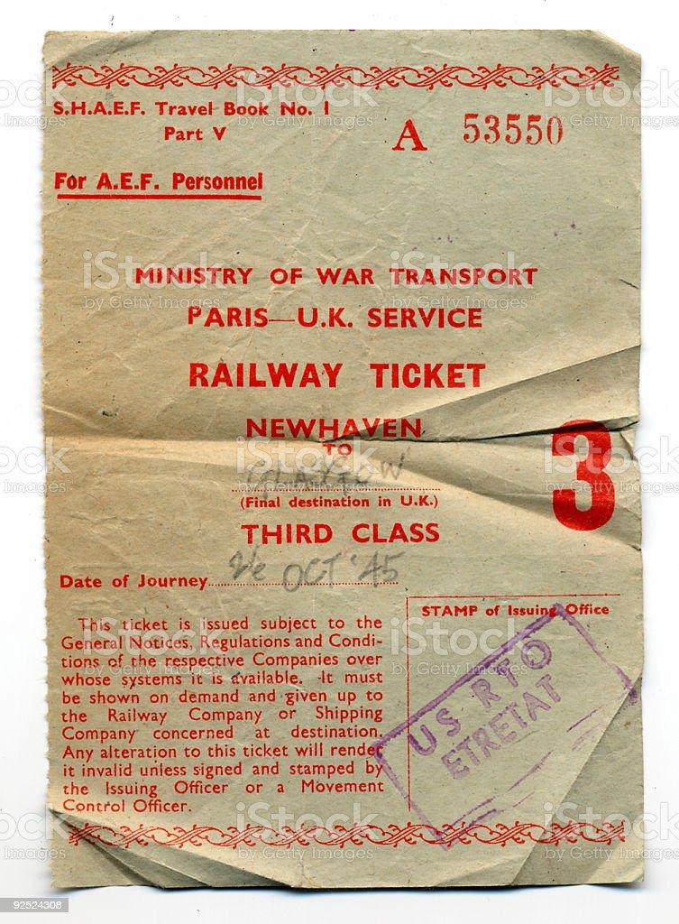 Railway Ticket from 1945. stock photo