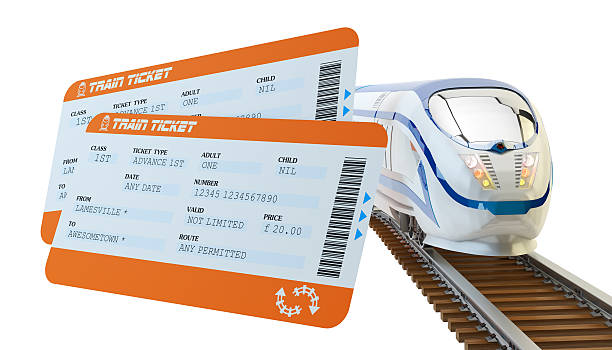 Railway tickets booking and railroad travel concept Train tickets and modern high speed passenger train on tracks isolated on white background train ticket stock pictures, royalty-free photos & images