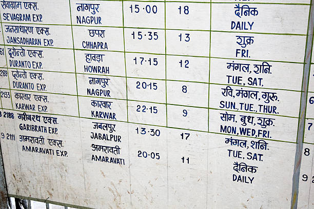 Railway Timetable At Mumbai Station Stock Photo & More