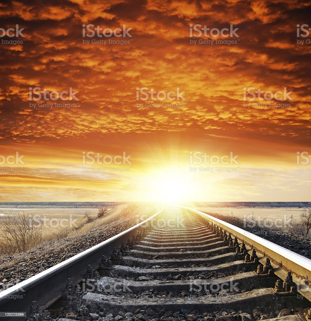 railway to sunset royalty-free stock photo