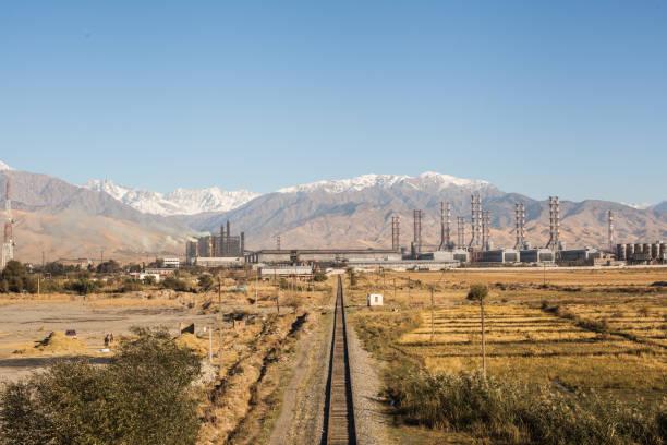Railway to the plant stock photo
