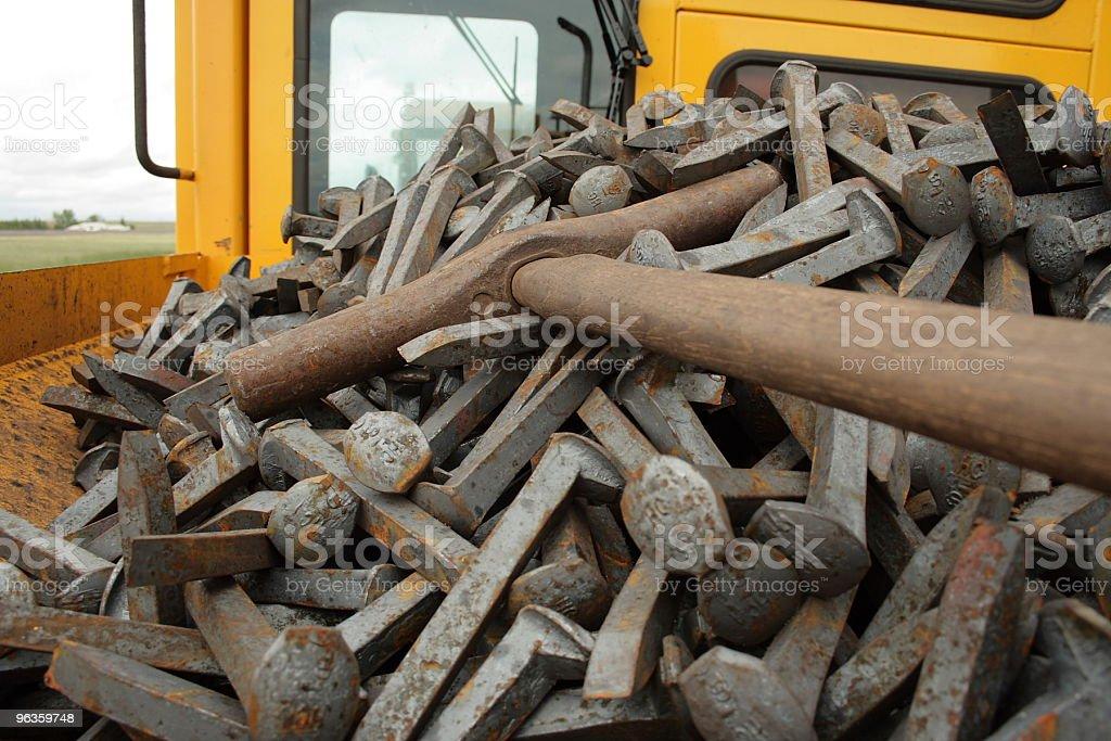 Railway tools and pins royalty-free stock photo