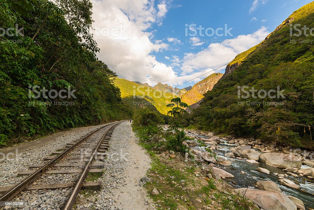 Railway track and Machu Picchu mountains, Peru stock photo