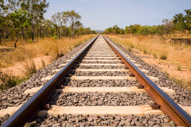 Railway Track Australia Outback stock photo