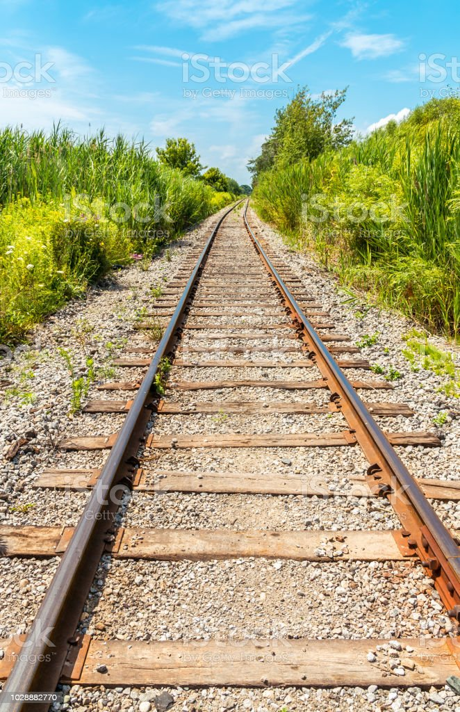 Scenic view of an abandoned railroad line, under a blue sky,...
