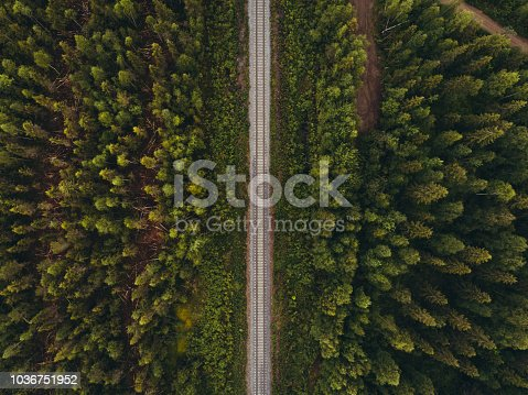 Empty railway track in forest seen from the sky, northern Finland
