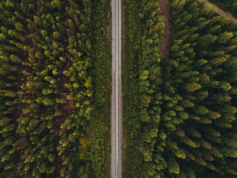 Railway track in forest seen from the sky, northern Finland
