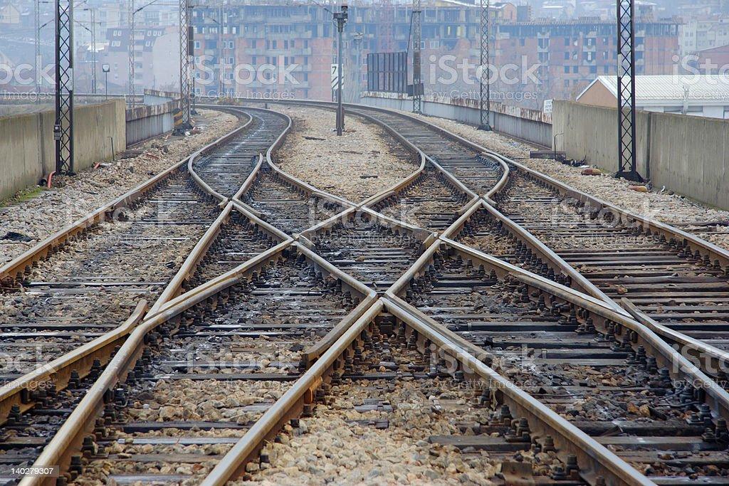 Railway track in Skopje, Macedonia royalty-free stock photo