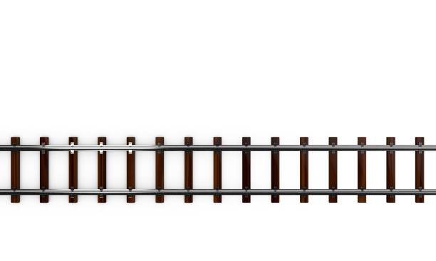 Railway track. Isolated on white background. 3D rendering illustration. Railway track. Isolated on white background. 3D rendering illustration.Top view. tramway stock pictures, royalty-free photos & images