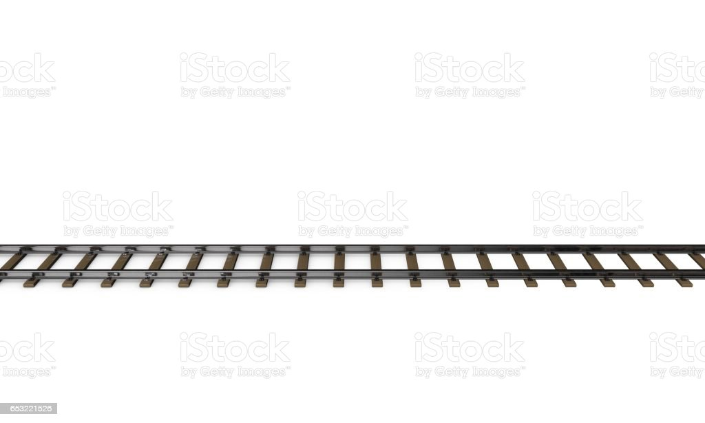 Railway track. Isolated on white background. 3D rendering illustration. stock photo