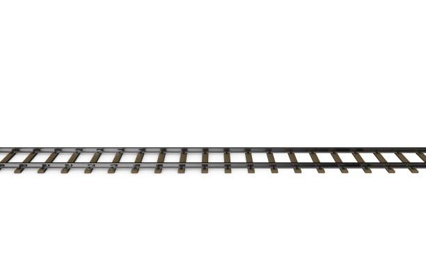 Railway track. Isolated on white background. 3D rendering illustration. Railway track. Isolated on white background. 3D rendering illustration.Side view. tramway stock pictures, royalty-free photos & images